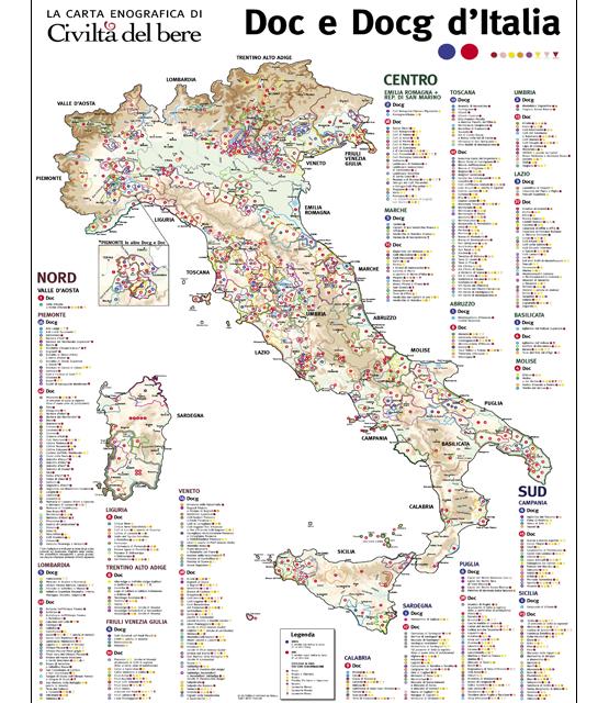 La carta enografica d'Italia