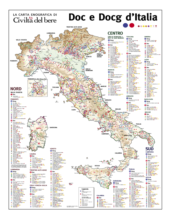 Cartina Geografica Italia 2017.La Carta Enografica Delle Doc E Docg D Italia 2020 Store Civilta Del Bere